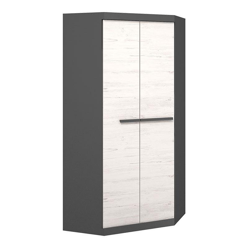 Armoire d'angle largeur 93cm TREND bois blanc et graphite -