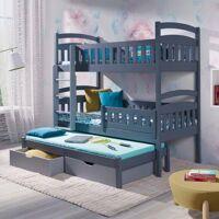 Lit superposé Domi 3 couchages - Gris - 80 cm x 180 cm <br /><b>699.46 EUR</b> Petite Chambre
