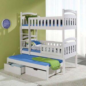 Lit superposé blanc Domi avec lit gigogne - 80 cm x 180 cm,80 cm x 190 cm,80 cm x 200 cm,90 cm x 180 cm,90 cm x 190 cm,90 cm x 200 cm - Publicité