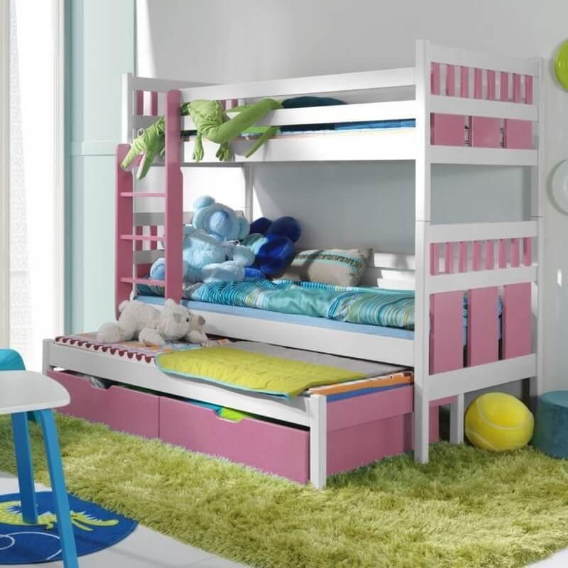 Lit superposé Maximilien personnalisable pour enfant - Rose - 80 cm x 180 cm - H165 cm LLongueur intérieure + 10 cm lLargeur intérieure + 7 cm