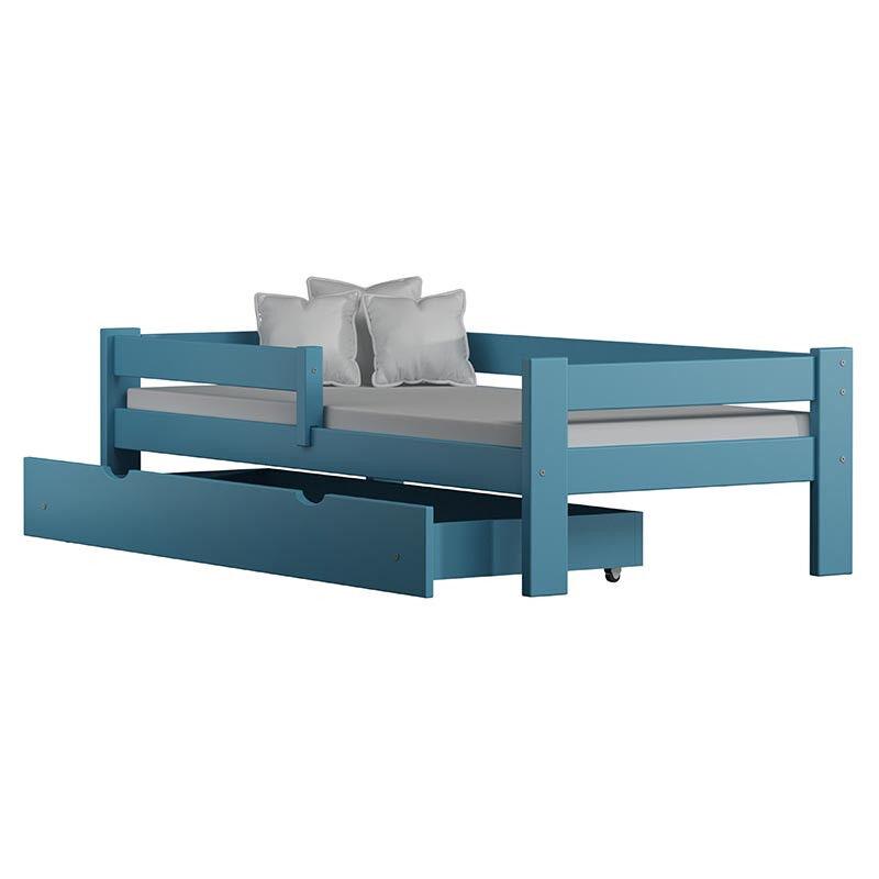 Lit enfant Paul taille et couleur personnalisable - Bleu - 80 cm x 160 cm - H51 cm L167 cm ou 187 cm l88 cm