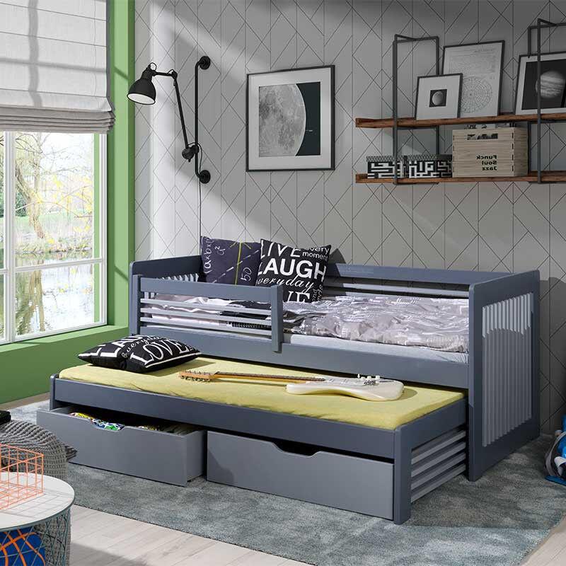 Lit enfant gigogne ANATOL gris et graphite - 80 cm x 200 cm - H76 cm LLongueur intérieure + 10 cm lLargeur intérieure + 7 cm