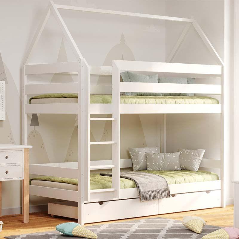 Lit superposé cabane DOMEK pour chambre enfant - Blanc - 80 cm x 160 cm - H217 cm
