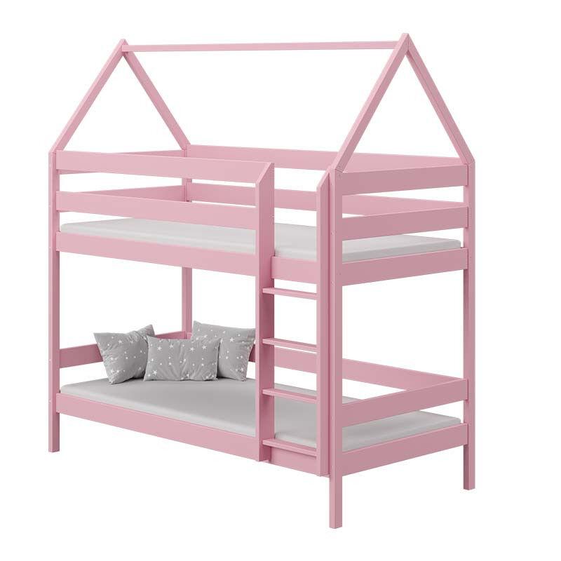 Lit superposé cabane DOMEK pour chambre enfant - Rose - 80 cm x 160 cm - H217 cm