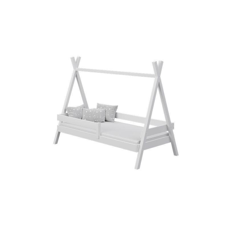 Lit Tipi+ pour enfant - Blanc - 80 cm x 160 cm - H143 cm L93 l167 / 187 cm