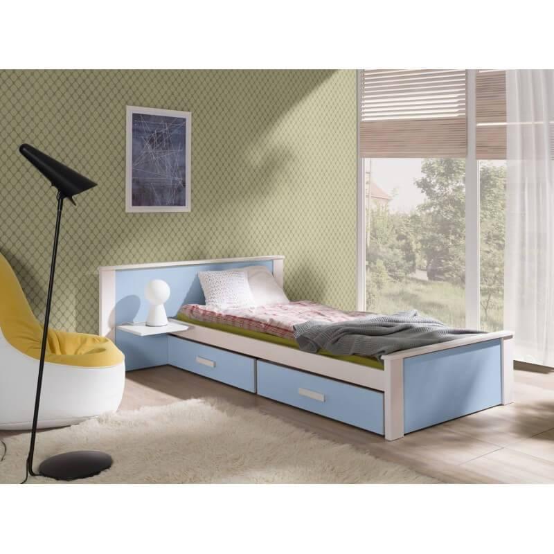 Lit junior Aldo avec tiroirs de rangement - Bleu - 80 cm x 180 cm