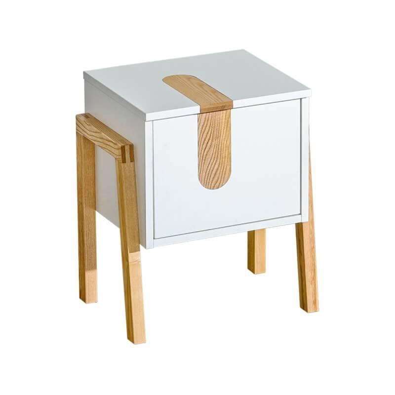 Table de chevet sur pieds en bois élégants. - Blanc - H54,5 cm