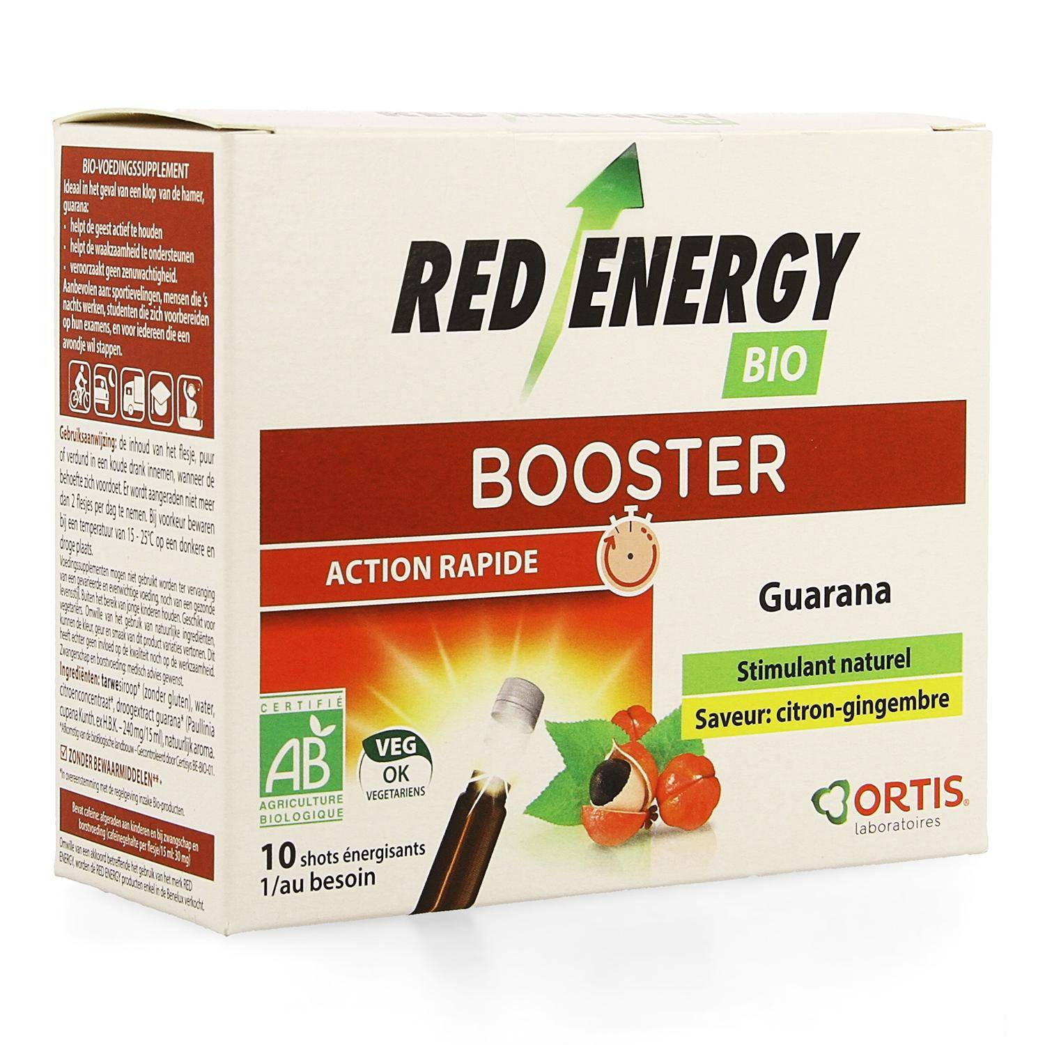 Energie Ortis Red Energy Saveur Citron/Gingembre 10 Fioles