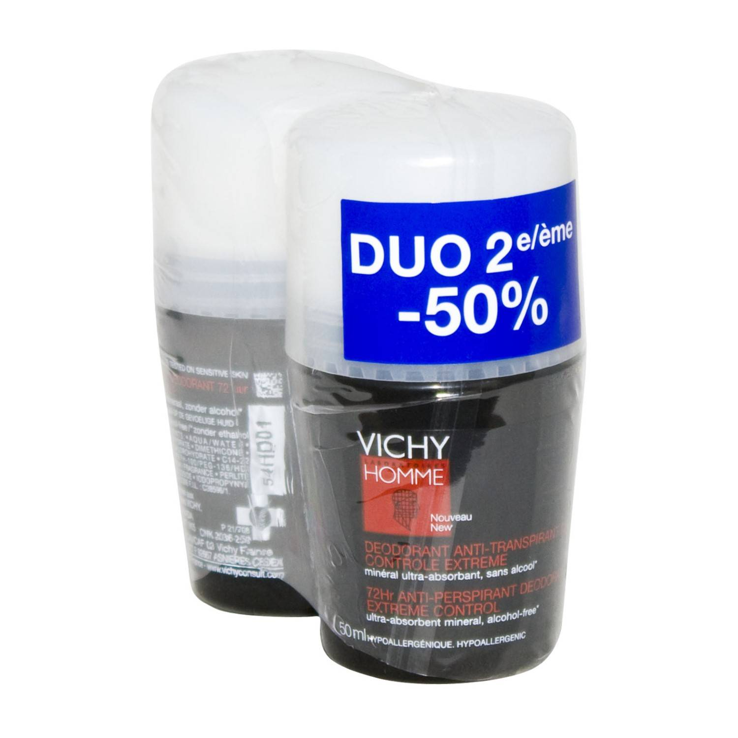 Vichy Homme Déodorant Anti Transpirant 72H Controle Extreme Roll-On 2 x 50 ml Prix Promo