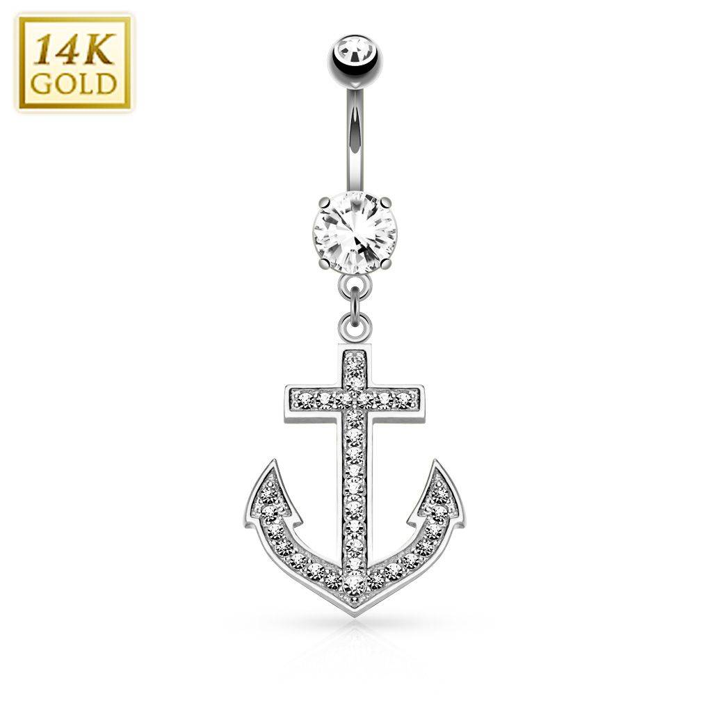 """""""Piercing Street"""" """"Piercing nombril Or blanc 14 carats Ancre marine"""""""