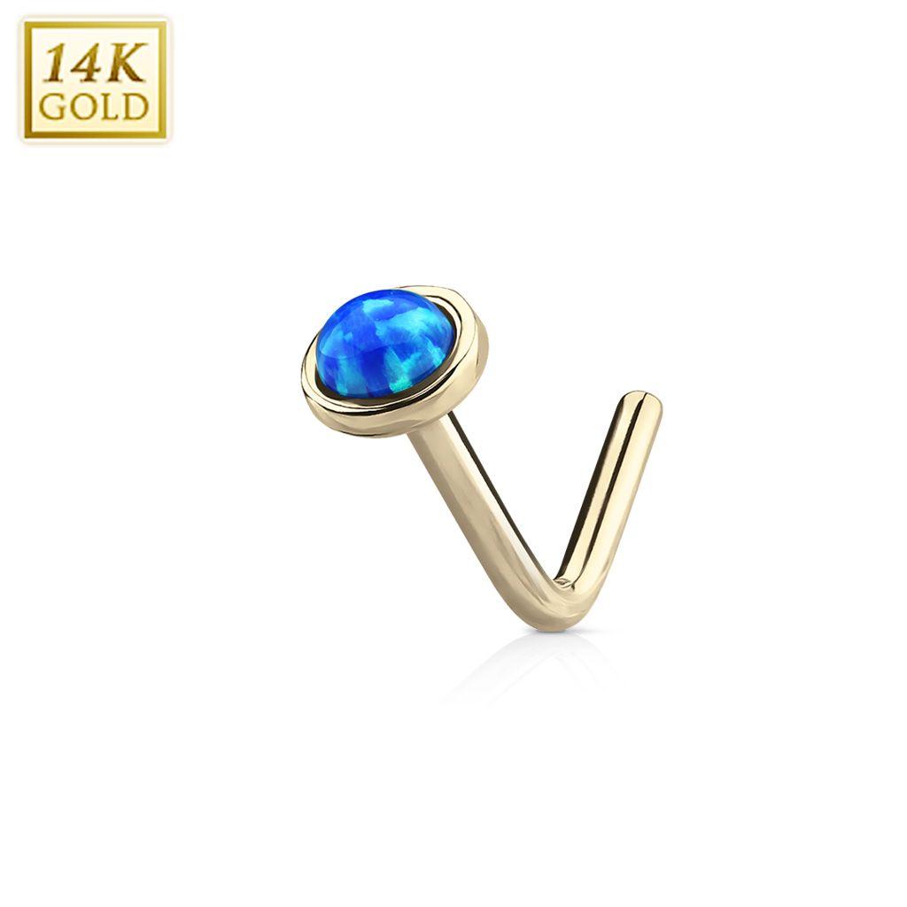 """""""Piercing Street"""" """"Piercing nez Or jaune 14 carats opale bleue dome tige en L"""""""