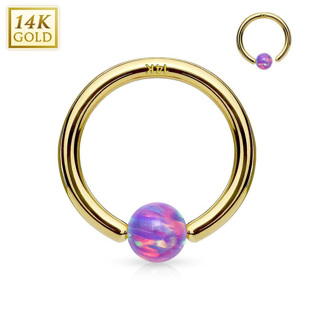 """""""Piercing Street"""" """"Piercing anneau captif en or jaune 14 carats pour nez oreille opale violette"""""""