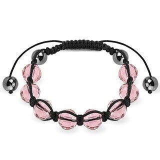 """Piercing Street"" ""Bracelet Shamballa avec billes à facettes roses"""