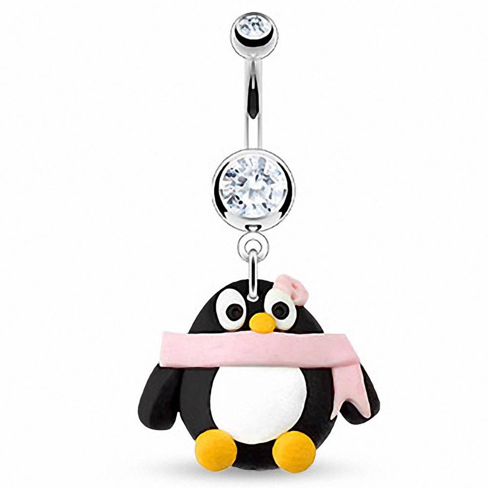 """Piercing Street"" ""Piercing nombril Pendentif Pingouin Argile Durcie"""