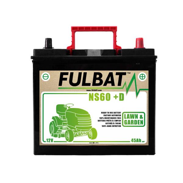 fulbat Batterie Fulbat NS60 (+D) CA/CA 12V 45 AH  (- / +) NS60D KUBOTA Bornes Japonnaises (sans entretien)