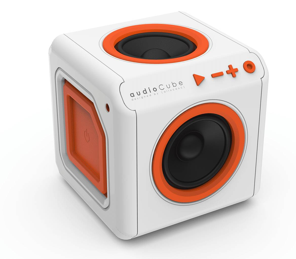 allocacoc enceinte surround portable audiocube blanc / orange bluetooth  - allocacoc