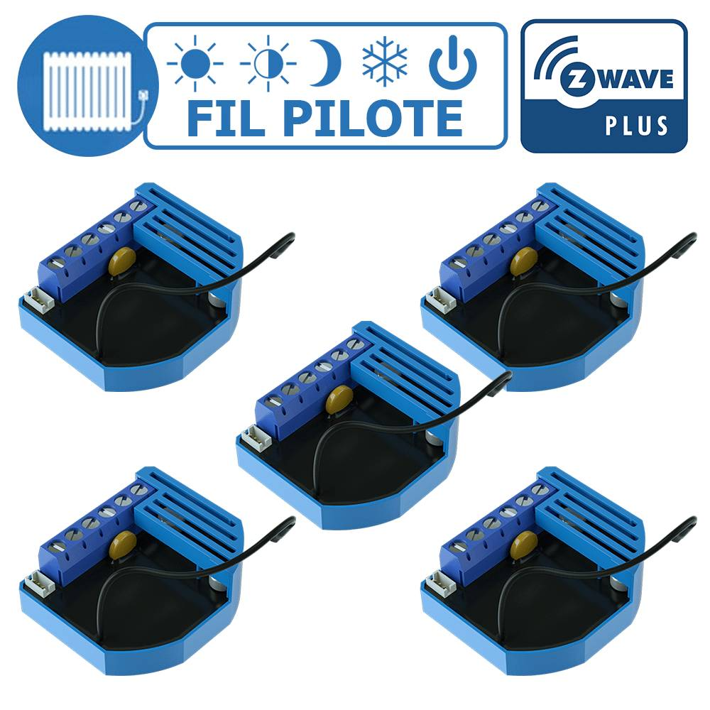 Qubino Lot de 5 modules Fil Pilote encastrable Z-Wave Plus - QUBINO