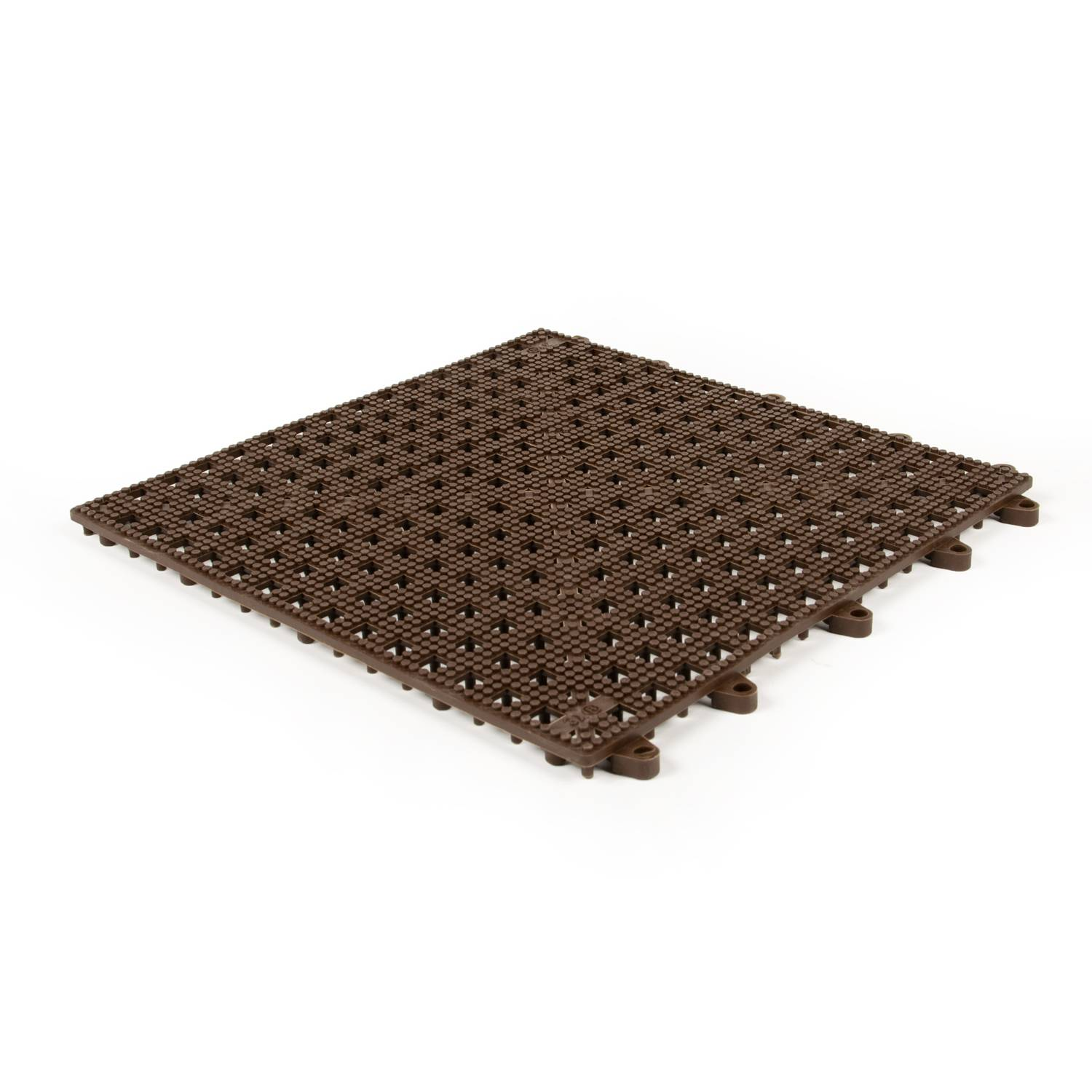Planet Caoutchouc Dalle emboitable en grille marron 30x30cm - 10mm