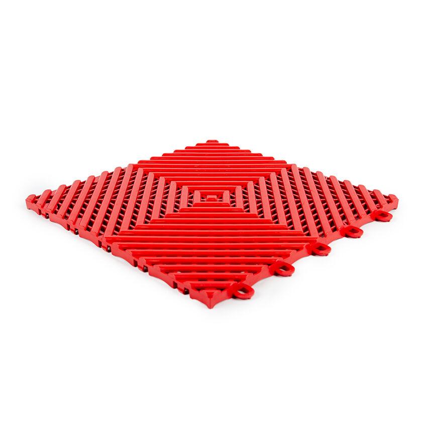 Planet Caoutchouc Dalle emboitable en grille Rouge 30x30cm - 15mm