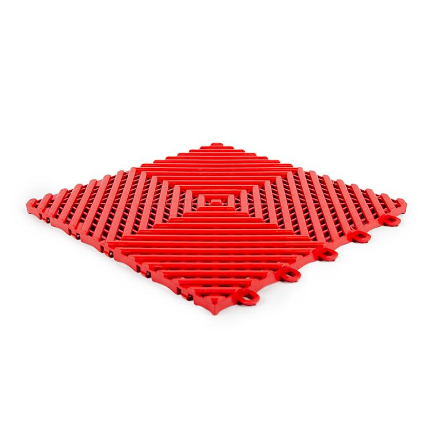 Planet Caoutchouc Dalle emboitable en grille Rouge 30x30cm - 15mm
