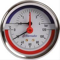 Plomberie-pro Mano-Thermomètre Axial Ø1/2'' 0-120°C L=35