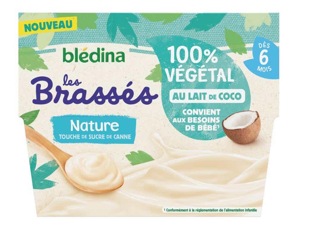 BLéDINA Les Brassés 100% Végétal au Lait de Coco - Goût Nature - Dès 6 mois, 4x95g
