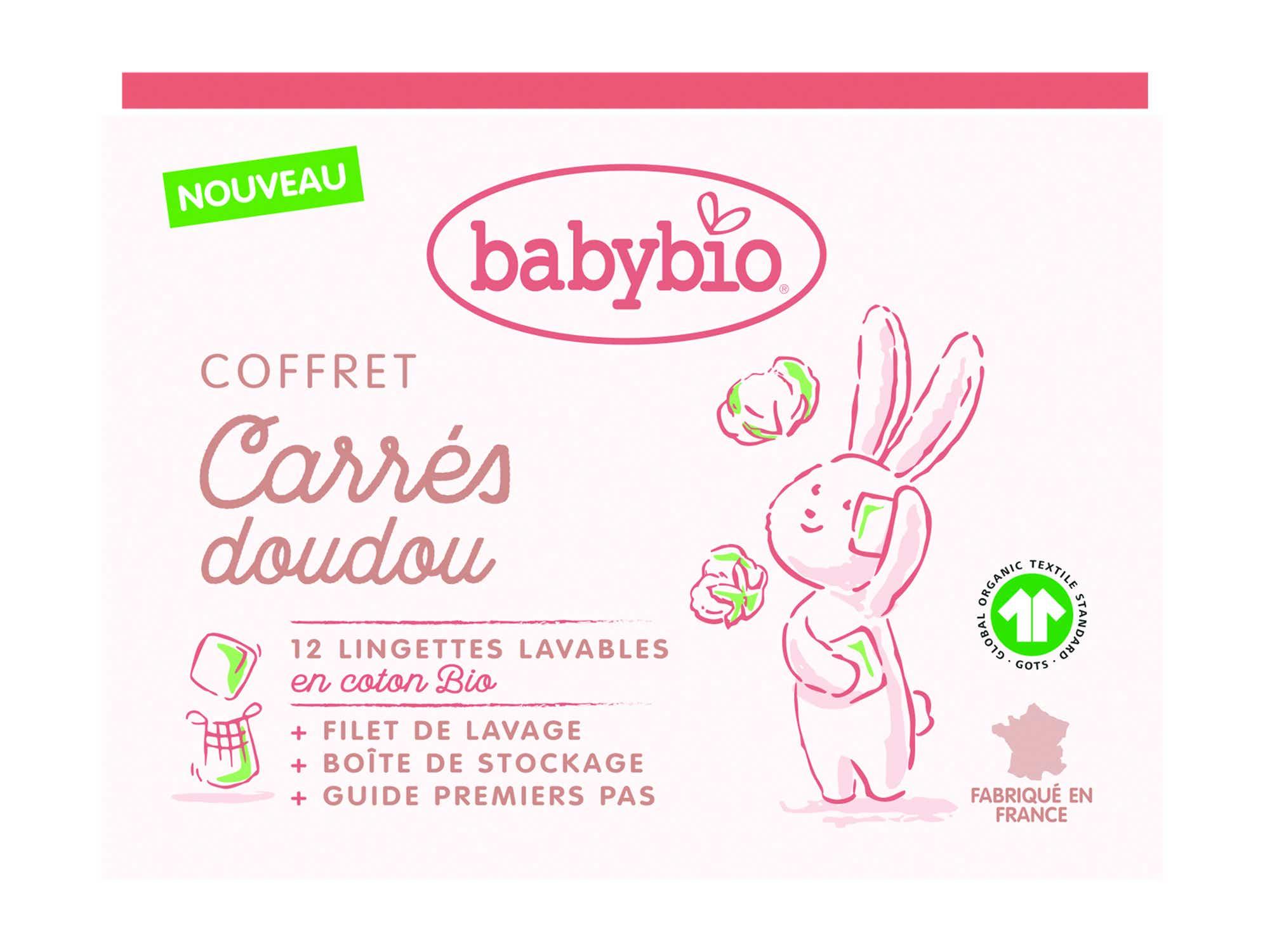 BABYBIO Coffret Carrés Doudou Bio, 12 lingettes Lavables + Filet de Lavage