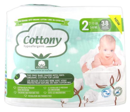 COTTONY Couches en Coton Bio - Taille 2 - Paquet de 38 couches