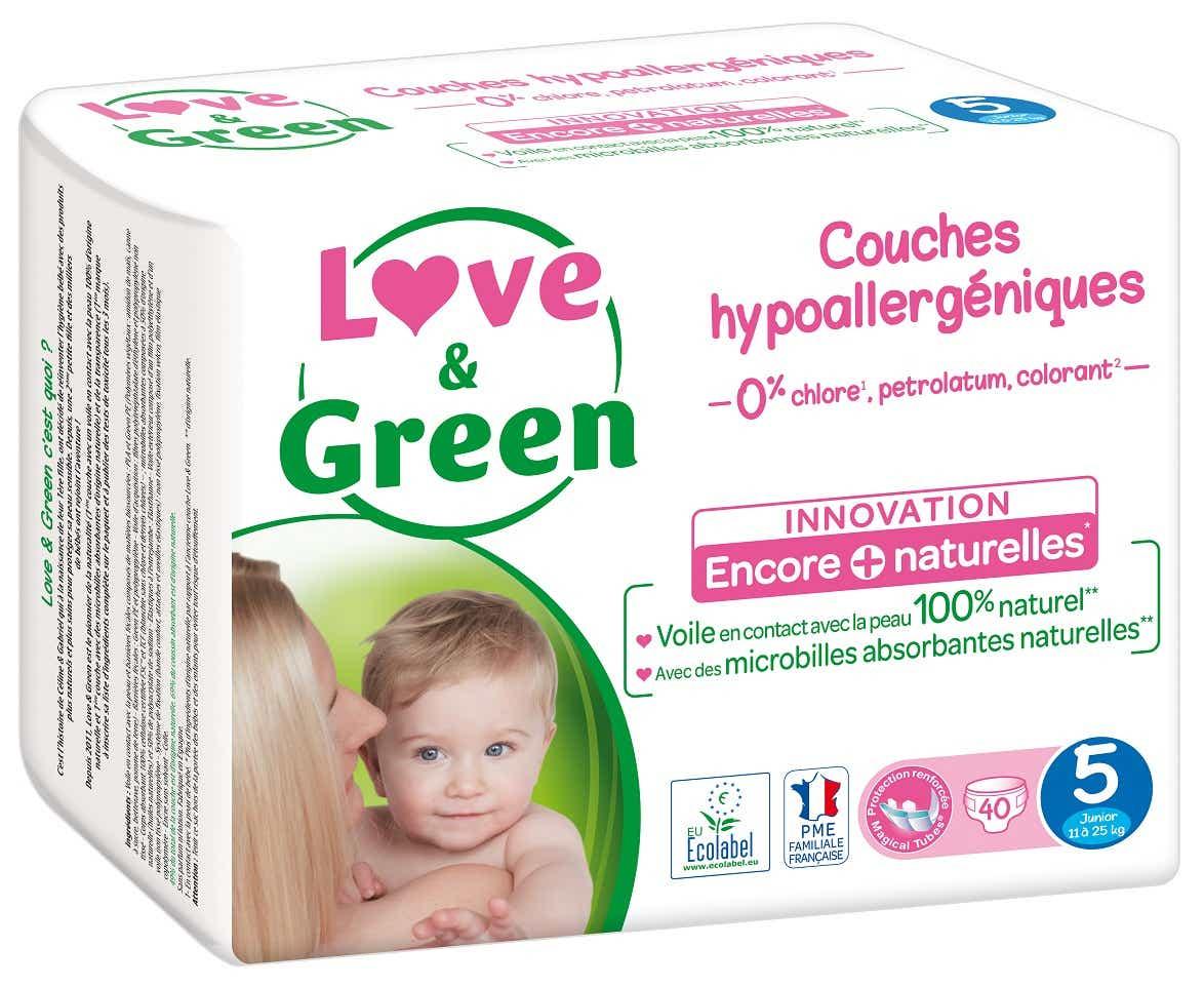 LOVE & GREEN Couches Hypoallergéniques T5, 40 unités