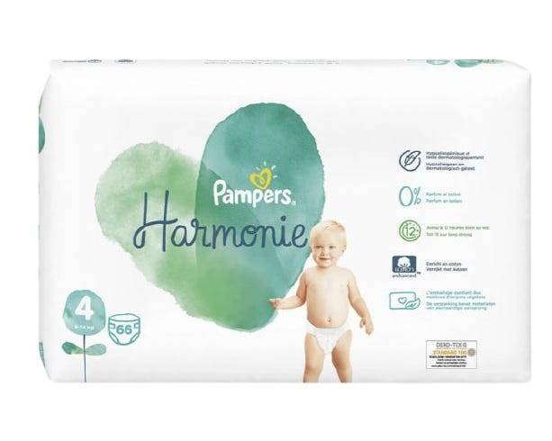 PAMPERS Harmonie - Couches Taille 4, 66 unités
