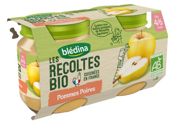 BLéDINA Les Récoltes Bio - Pommes Poires, 2x130g