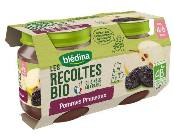 BLéDINA Les Récoltes Bio - Pommes & Pruneaux, 2x130g