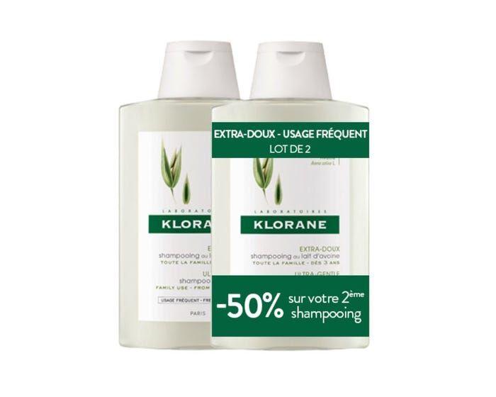 KLORANE Duo Shampooing Extra-Doux au Lait d'Avoine, 2x400ml