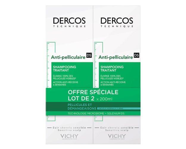 VICHY DERCOS - Antipelliculaire Shampooing Traitant Cheveux Normaux à Gras, 2 flacons de 200ml