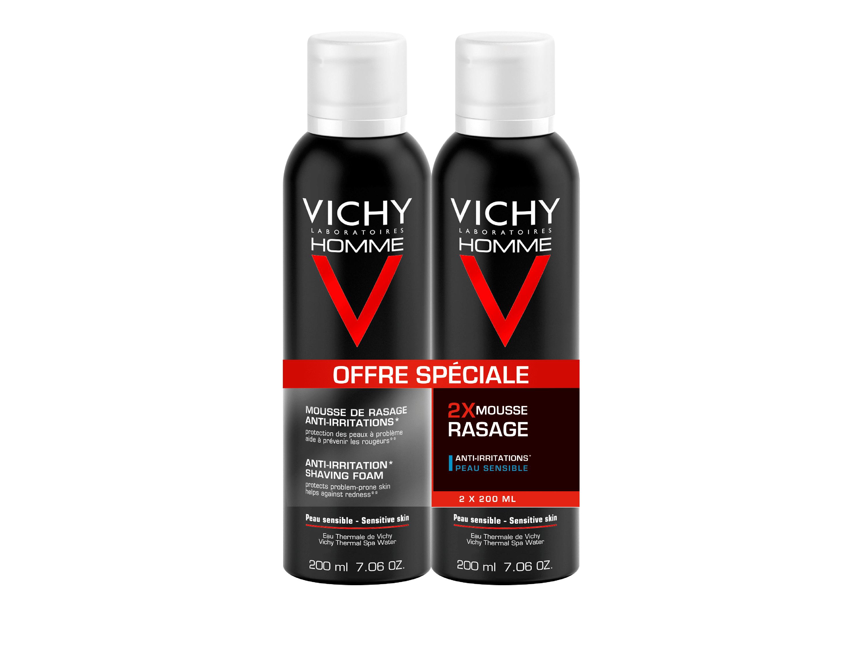 VICHY Homme - Mousse de rasage anti-irritations, 2x200ml