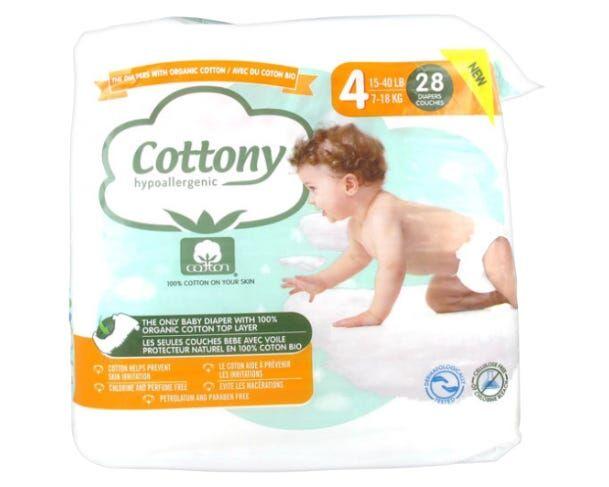 COTTONY Couches en Coton Bio - Taille 4 - Paquet de 28 couches