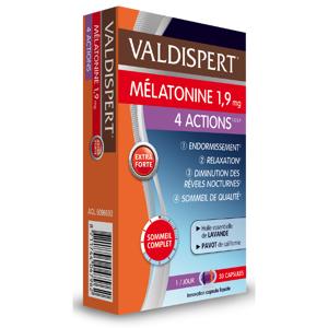 VALDISPERT Mélatonine 4 Actions 1,9 mg, 30 Capsules - Publicité