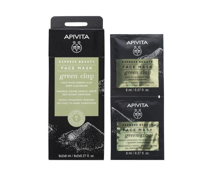 APIVITA Masque Visage Nettoyant Profond à l'Argile Verte, 2x8ml