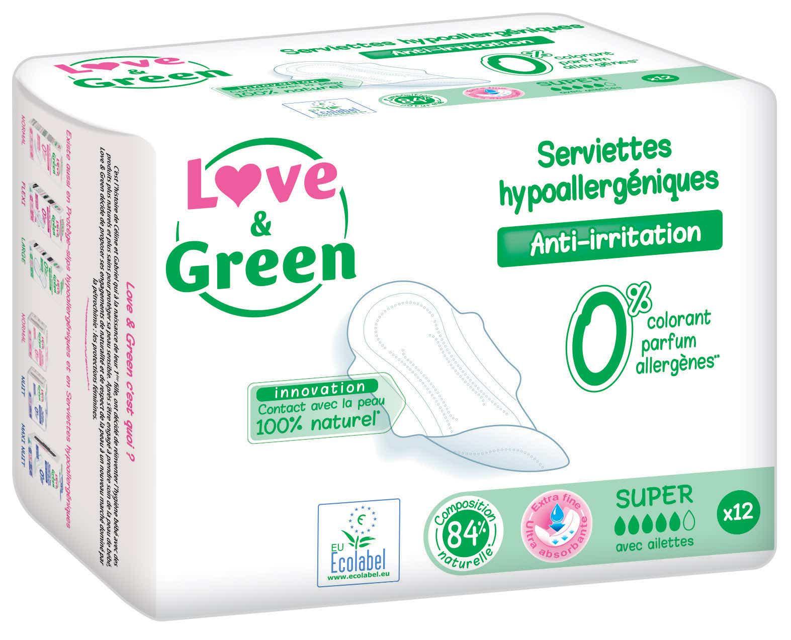 LOVE & GREEN Serviettes Hygiéniques Hypoallergéniques Anti-irritation Super, 12 unités