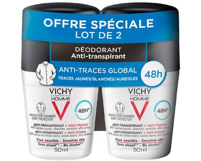 VICHY HOMME - Déodorant Anti Transpirant Anti-Traces Protection Chemise, 2x50ml