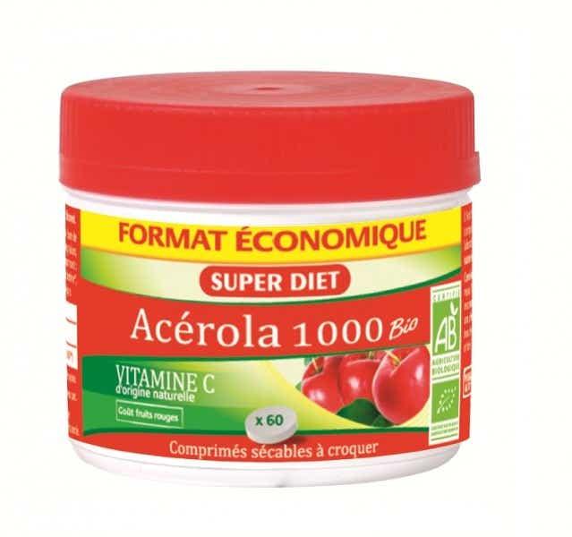 SUPERDIET Acérola 1000 bio, 60 comprimés à croquer