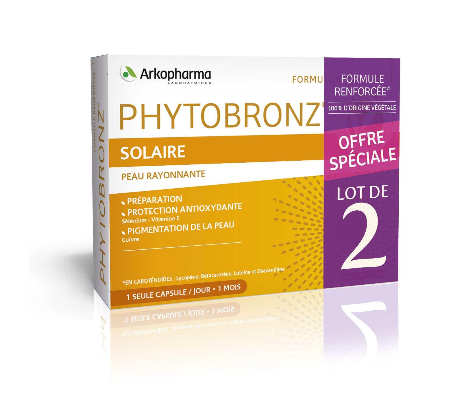 ARKOPHARMA Phytobronz® Préparateur Solaire Huiles Végétales, Lot 2X30 Capsules