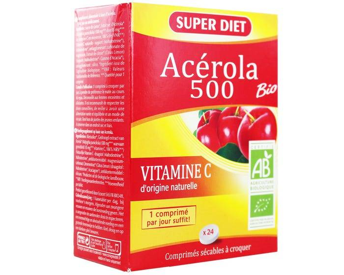 SUPERDIET Acérola bio 500, 24 comprimés