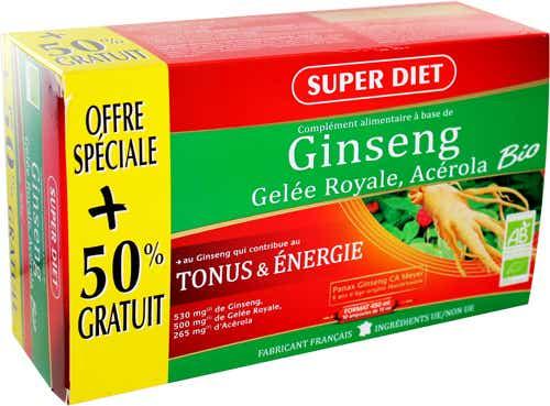 SUPERDIET Ginseng, gelée royale et acérola bio, 30x15ml