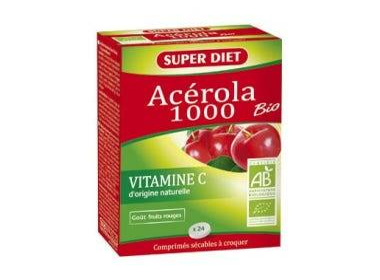 SUPERDIET Acérola 1000 bio, 24 comprimés à croquer