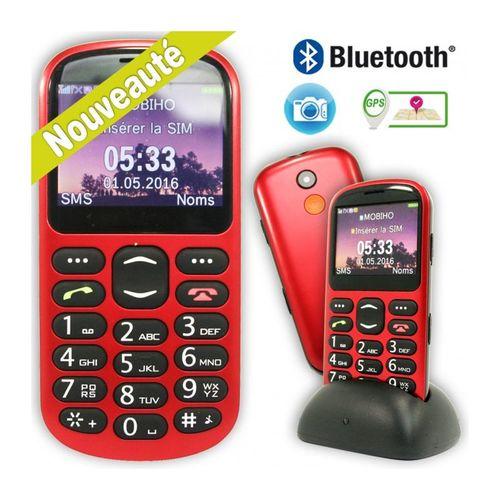 Voiis Téléphone Portable Classic GPS téléphone mobile avec service de localisation à distance GPS - Rouge et Noir