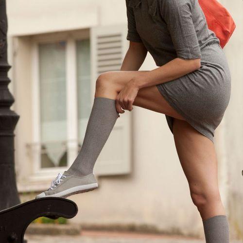 thuasne Chaussettes de contention femme Venoflex FAST Thuasne Enfilage ultra facile, 4 coloris , Classe 2 (Gris chiné)