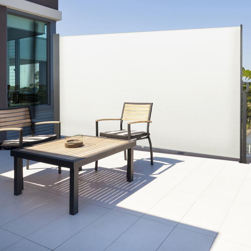 """IDMarket """"Paravent extérieur rétractable 300 x 160 cm blanc store latéral"""""""