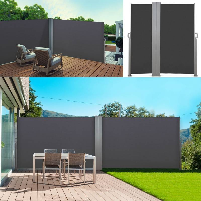 """ProBache """"Paravent extérieur rétractable double 600x160cm gris store vertical"""""""