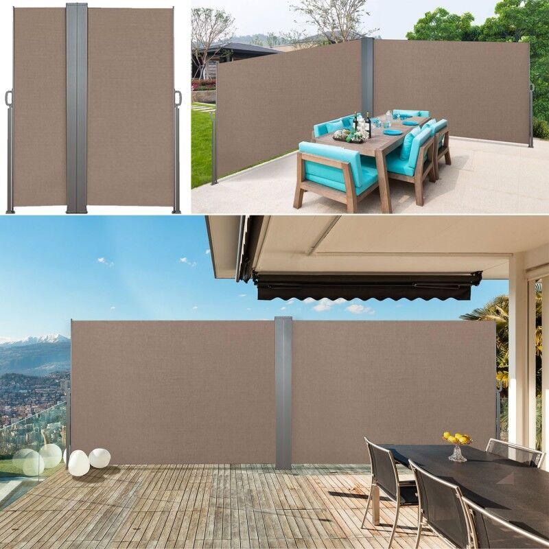 """IDMarket """"Paravent double rétractable 600 x 160 cm store taupe latéral"""""""